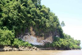 Cliff sculptures on mighty Irrawaddy River