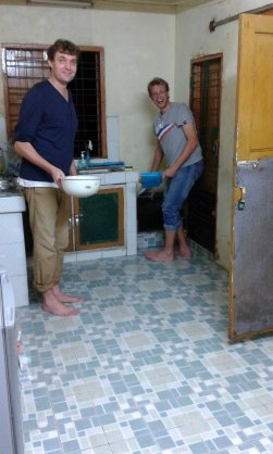 Kitchen flood with Maarten, Yangon