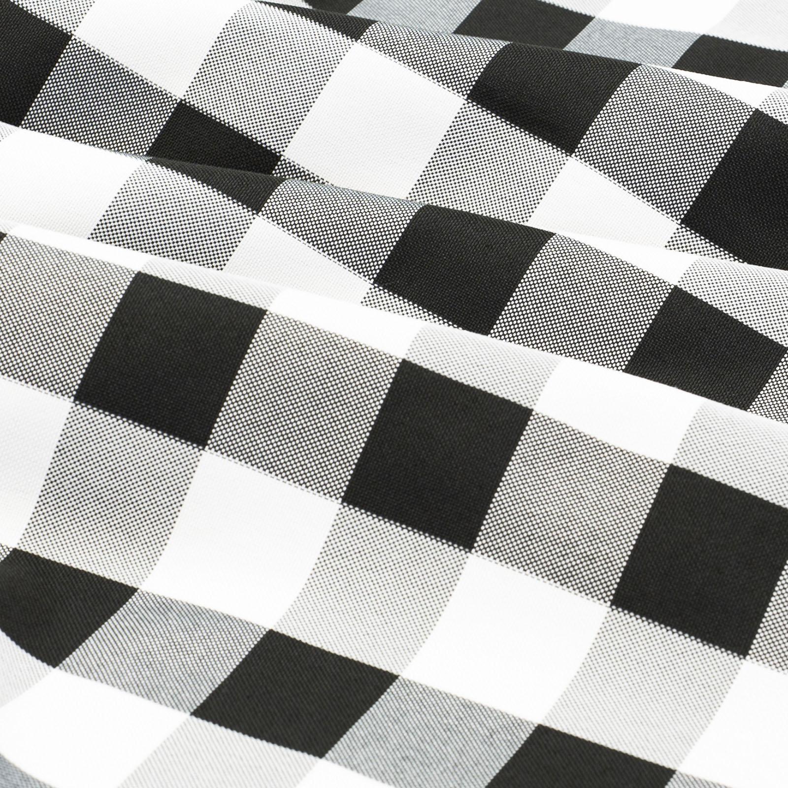 "60/"" x 60/"" SQUARE BLACK /& WHITE CHECKERED TABLECLOTH CHECKER PATTERN OVERLAY"