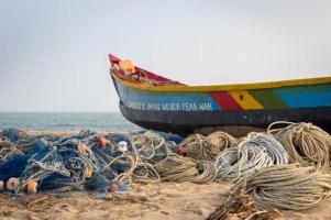 """Capacity man never fear war"" - fishing boat in Ghana"