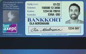 Photo d'une carte bancaire norvégienne avec photo d'identité au dos