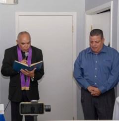 El Reverendo Santana y Armando Morales Presidente Assisting Hands Miami.