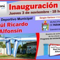 "Inauguran Centro Deportivo ""Raúl Alfonsín"""