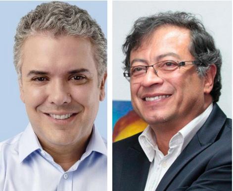 Foto de los candidatos: Gustavo Petro e Iván Duque.
