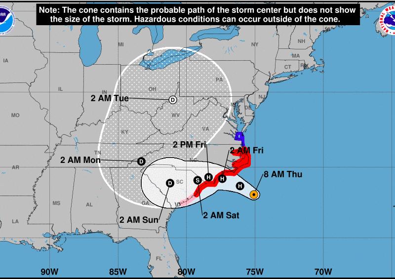 La trayectoria del huracán Florence a las 11am el jueves 13 de septiembre.