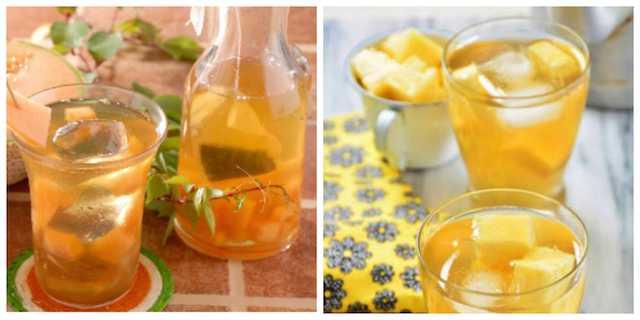 Té verde helado con frutas