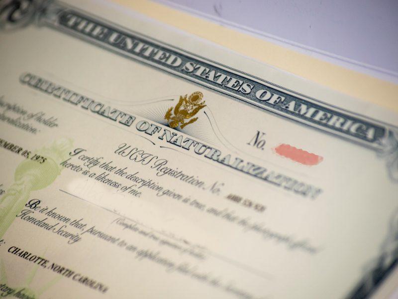 Certificado de naturalización estadounidense