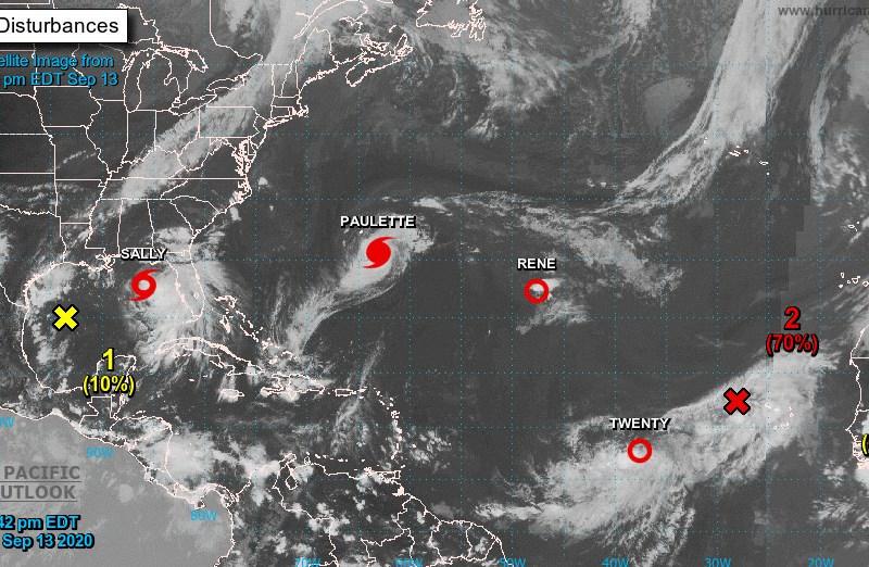 Paulette llegará a Bermudas y Sally se convertirá en huracán