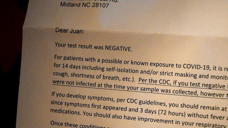 Resultados negativos de prueba de COVID-19