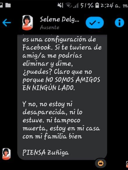 Selene Delgado contestó a un usuario de Facebook.