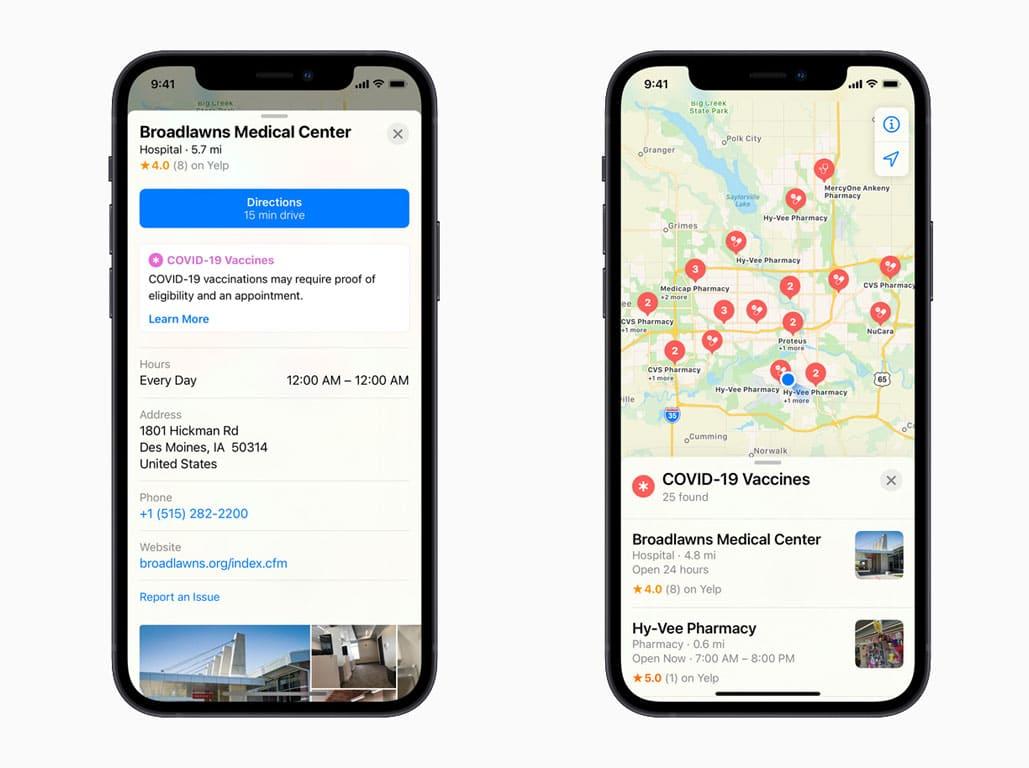 COVID-19: ¿Cómo buscar lugares de vacunación con Apple Maps