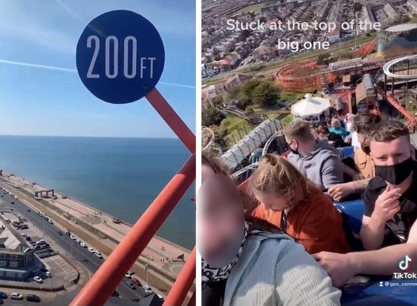 VIDEO: personas quedan atrapadas en lo alto de una montaña rusa
