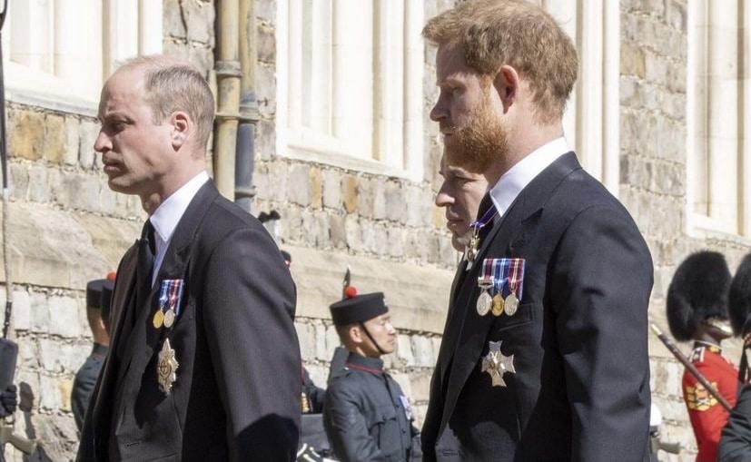Harry y William juntos en el funeral del príncipe Felipe