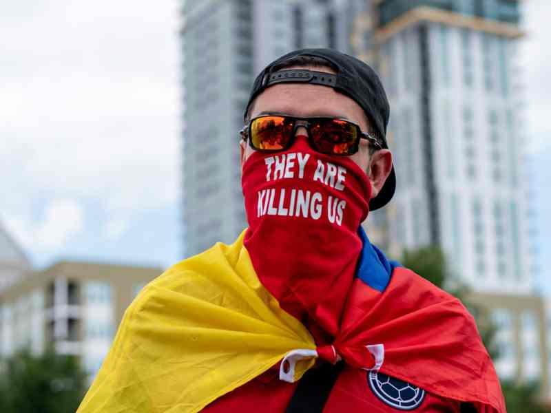 Protesta en solidaridad con Colombia en Charlotte