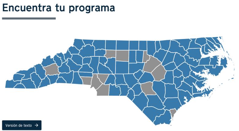 El programa NC HOPE está disponible en 88 condados de Carolina del Norte. Los otros 12 condados (en gris) tienen sus propios programas de asistencia para alquiler de emergencia.
