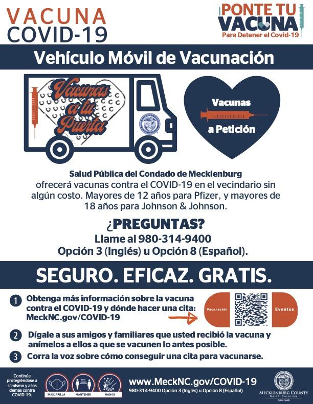 Folleto de información del condado de Mecklenburg sobre el programa Vacunas a tu Puerta. Foto MeckNC.Gov / Mecklenburg County Public Health