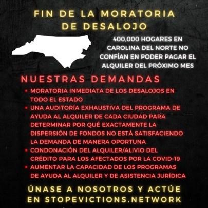 Volante sobre las demandas de Stop Evictions Network ya que ha terminado la moratoria contra los desalojos. Foto vía Stop Evictions Network