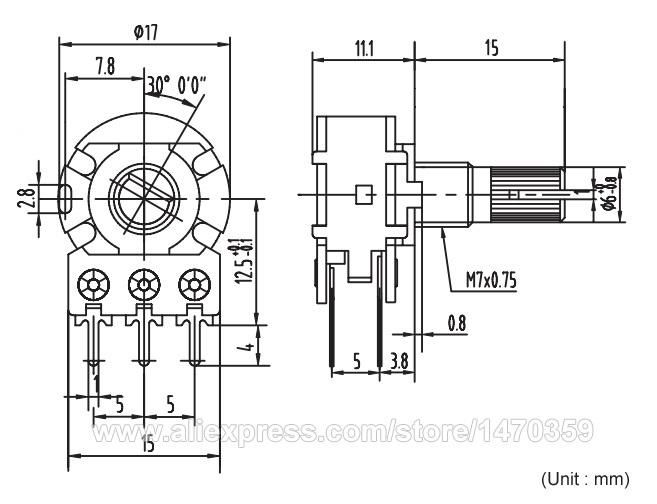 Rotary Potentiometer Potenciometro Linear Taper Double