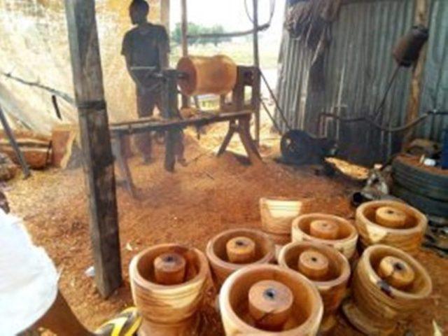 Production of wooden mortars   Lanre News
