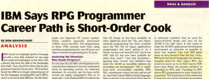 IBM Says RPG Programmer Career Path is Short-Order Cook
