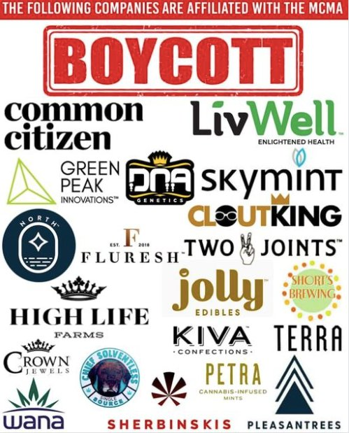 A graphic circulating on social media encourages customers to boycott several cannabis brands affiliated with the Michigan Cannabis Manufacturers Association. Its source is unknown.