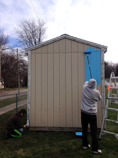 The first roll of paint is on the shed!