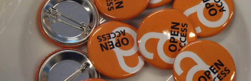 Collection of orange badges emblazoned with the Open Access logo
