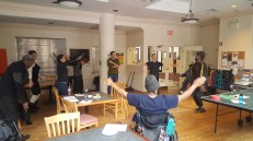 Residents participate in a fitness class for the launch of the FAB-YOU-ary fitness challenge