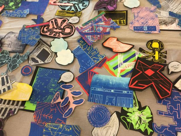 Part of the 'Block Party' artwork created by Lantern Community Services artists through an education partnership with the Museum of Modern Art