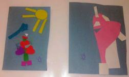 Children's artwork created in Lantern's art therapy group, supported by interns from NYU