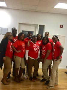 Target Brooklyn Gateway staff volunteer to help wrap gifts