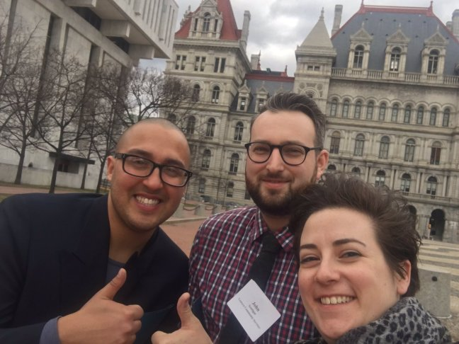 Lantern staff Nicholas Perez, John Sentigar, and Lara Tobin take part in The Network's Advocacy Day