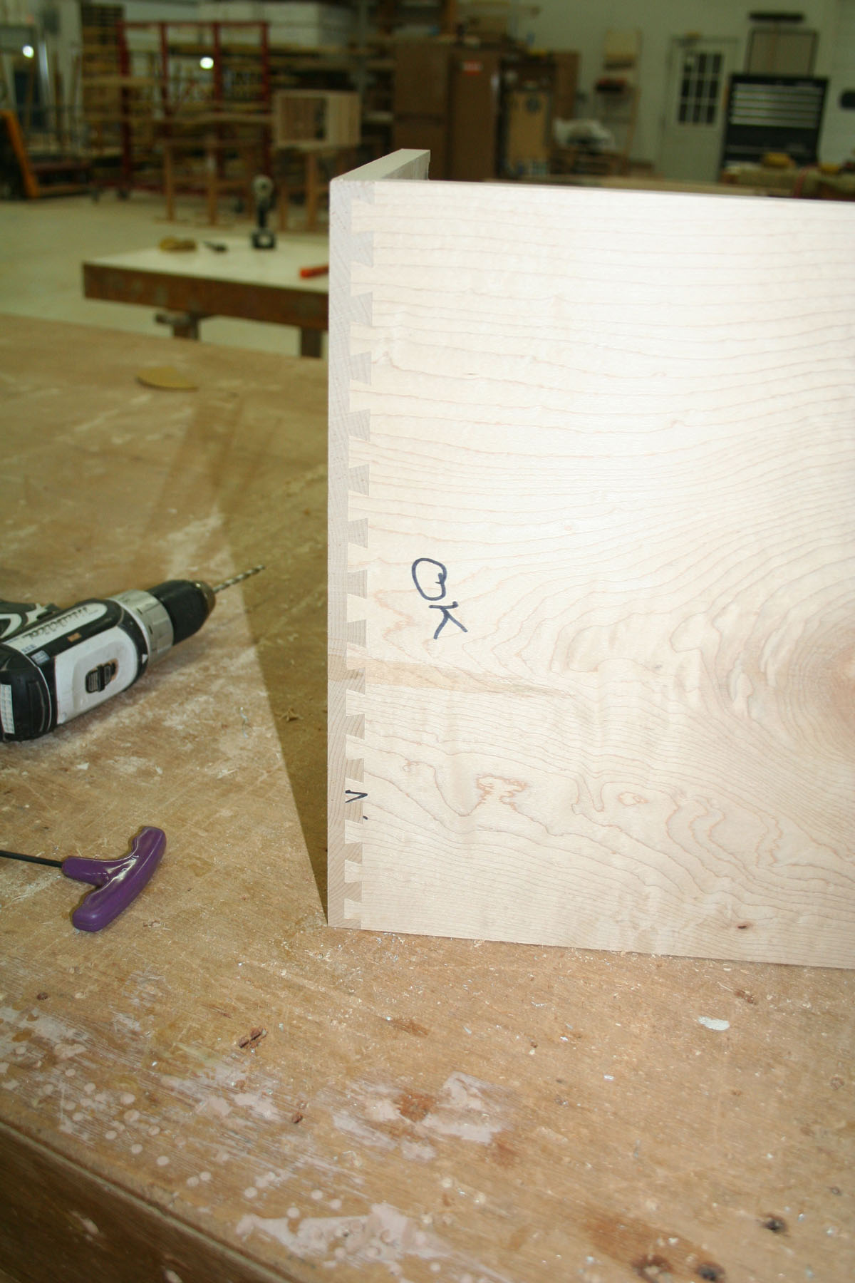 Dovetail made with new template lantz custom woodworking for Porter cable dovetail jig templates
