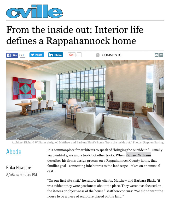 Rappahannock home featured in C-ville Abode