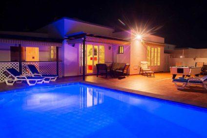 Apartment pool at night