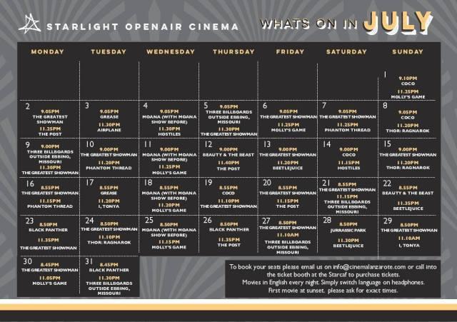 Starlight Cinema July 2018