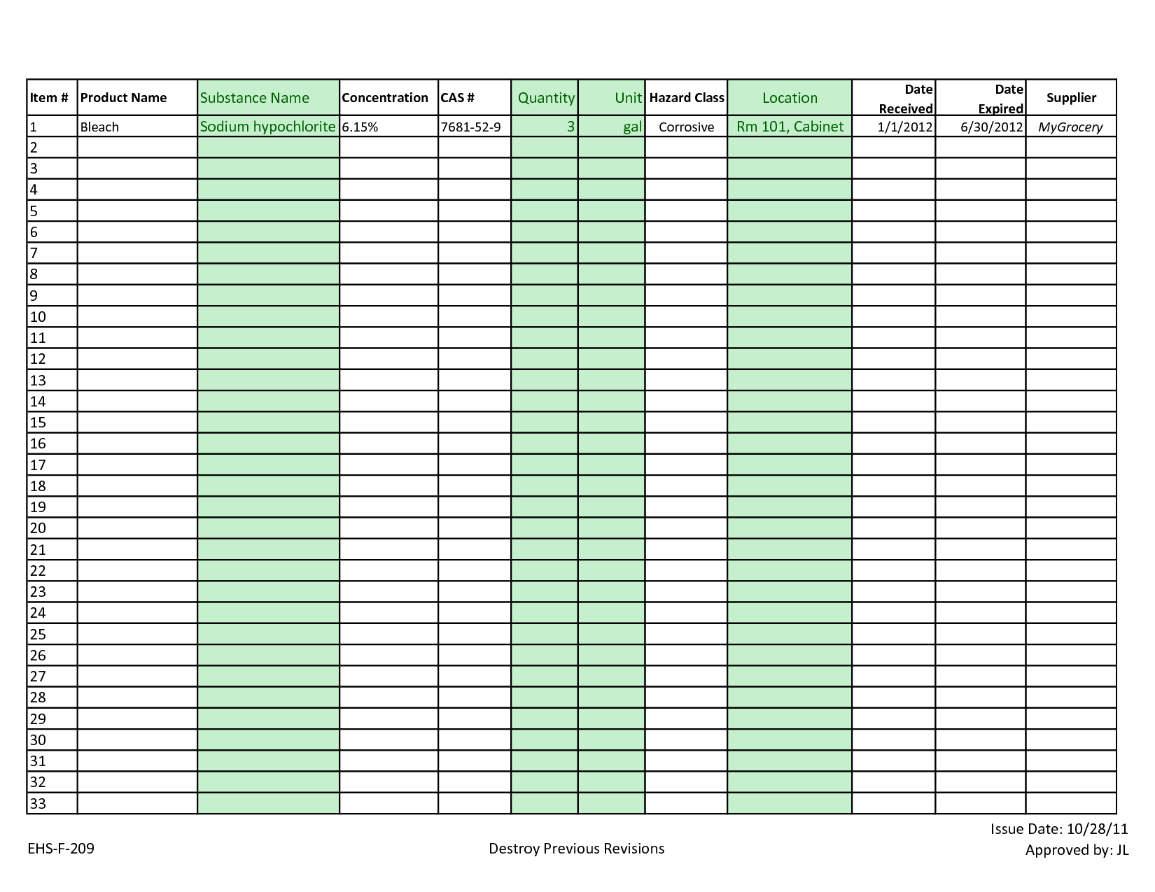 Warehouse Inventory Management Spreadsheet