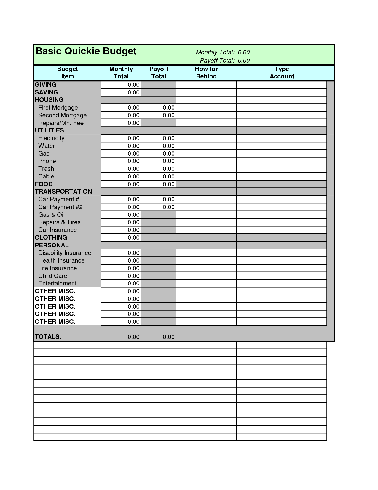 Monthly Cash Flow Plan Spreadsheet