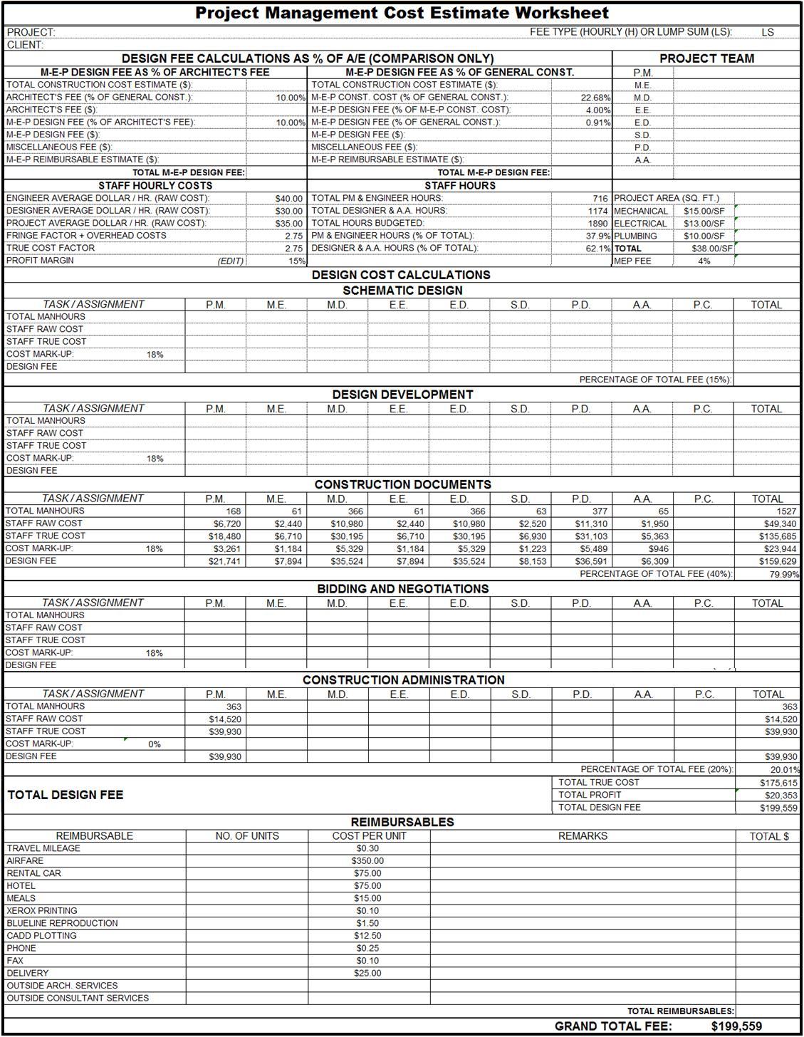 Construction Cost Estimate Template Excel