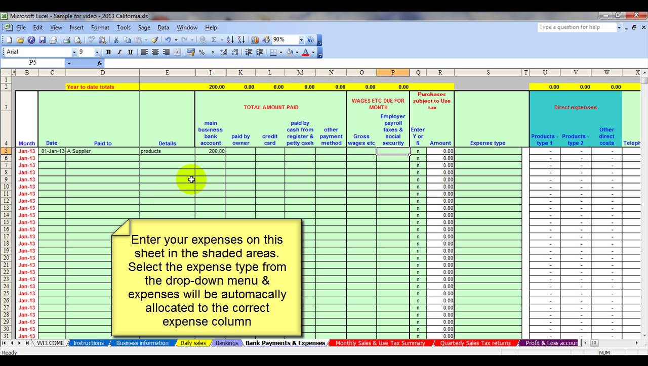 Simple Business Expense Spreadsheet | LAOBING KAISUO