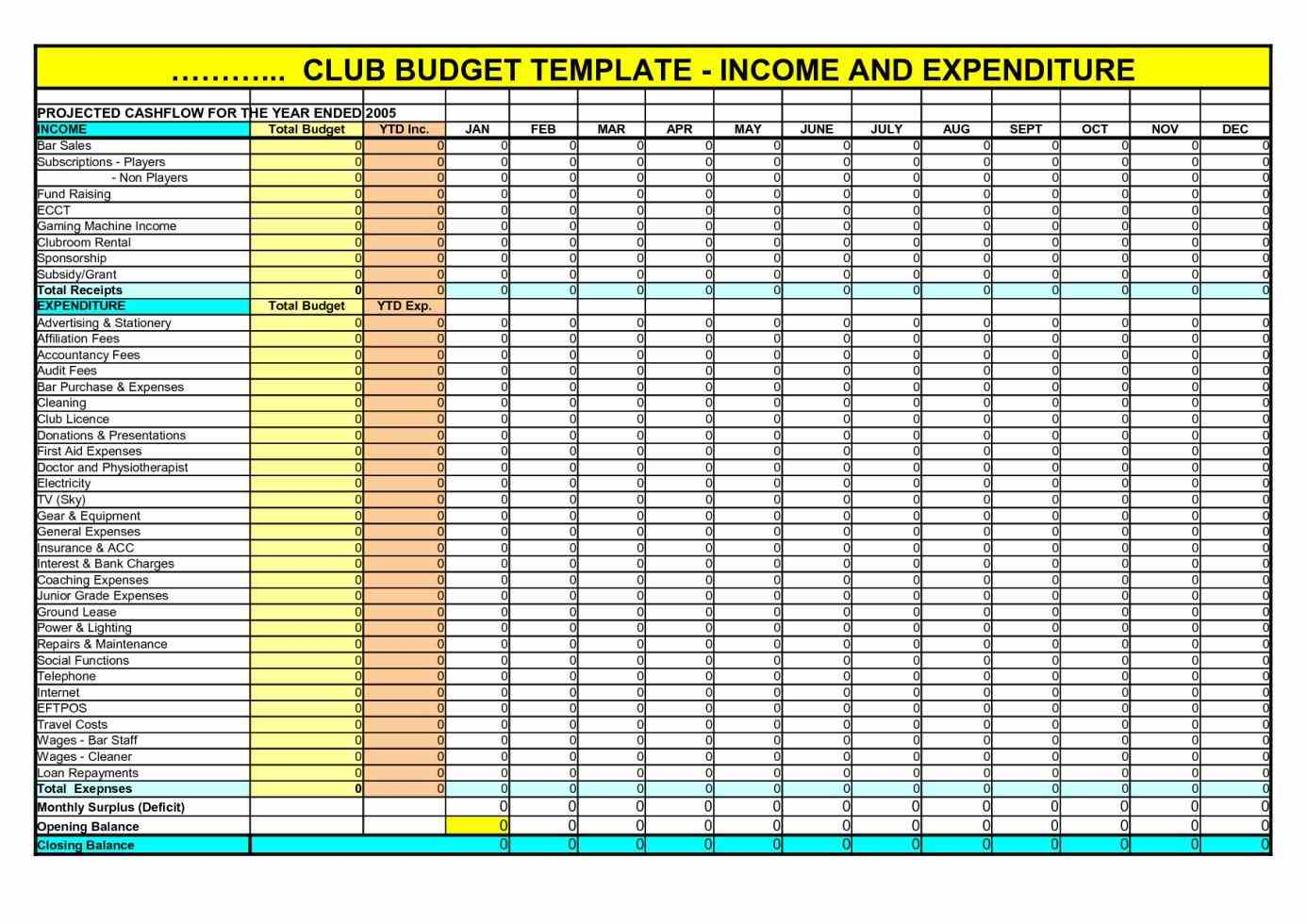 Income And Expenditure Spreadsheet Template Uk