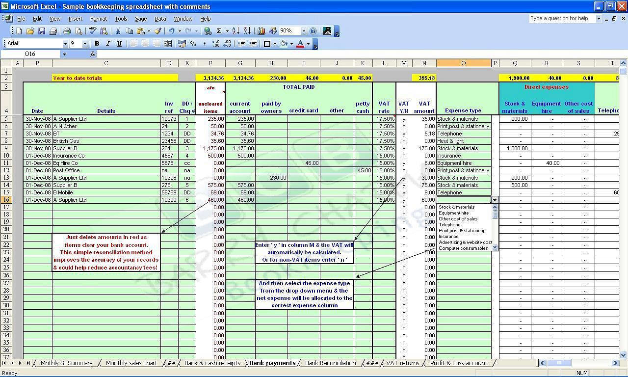 Farm Expense Spreadsheet Excel