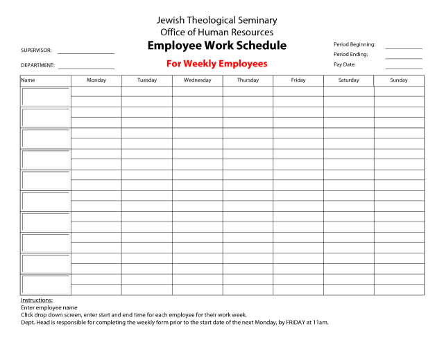 Monthly Employee Schedule Template Free Download