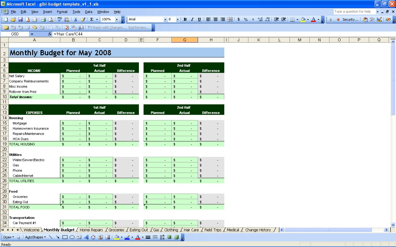 Free Monthly Household Budget Worksheet Excel