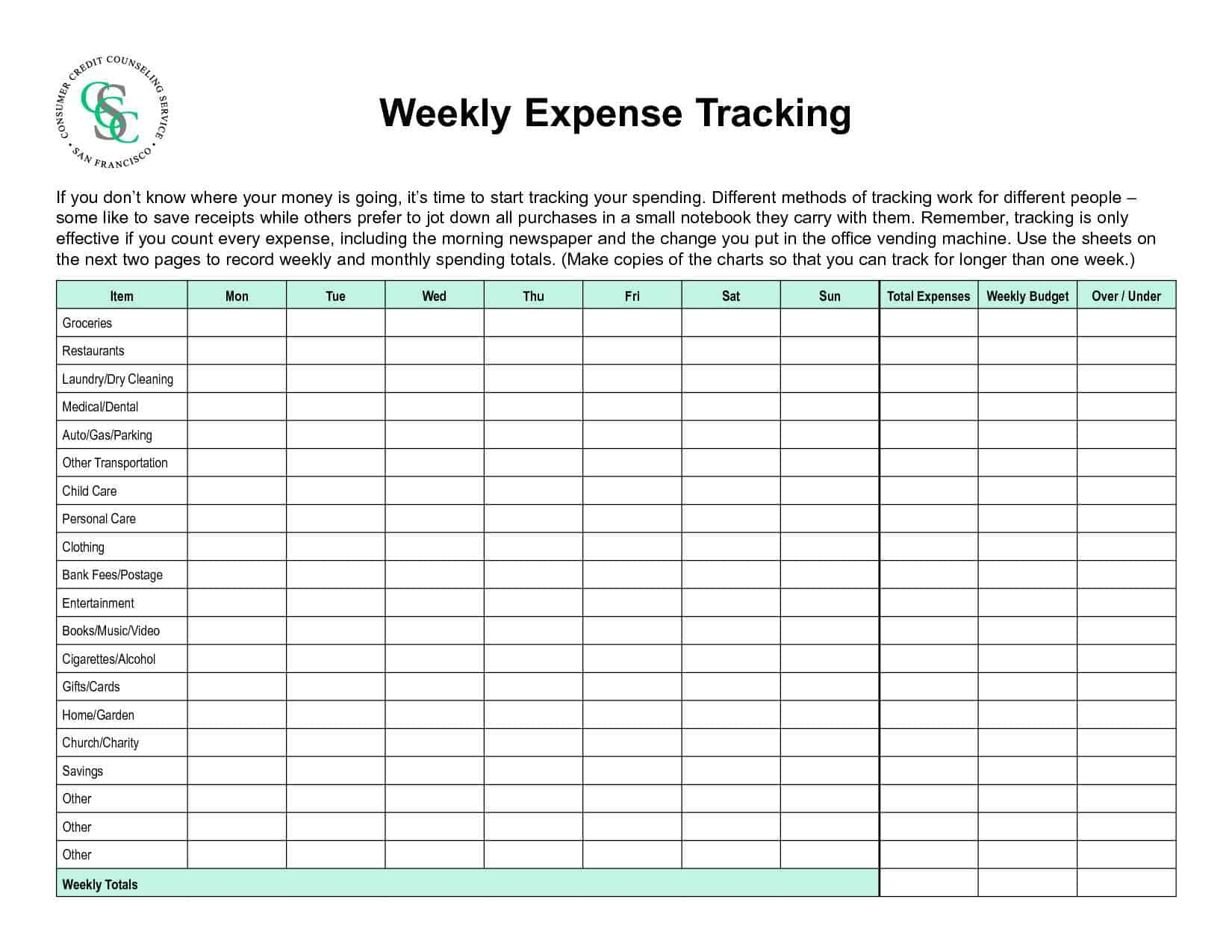 Free Personal Expense Tracker Spreadsheet