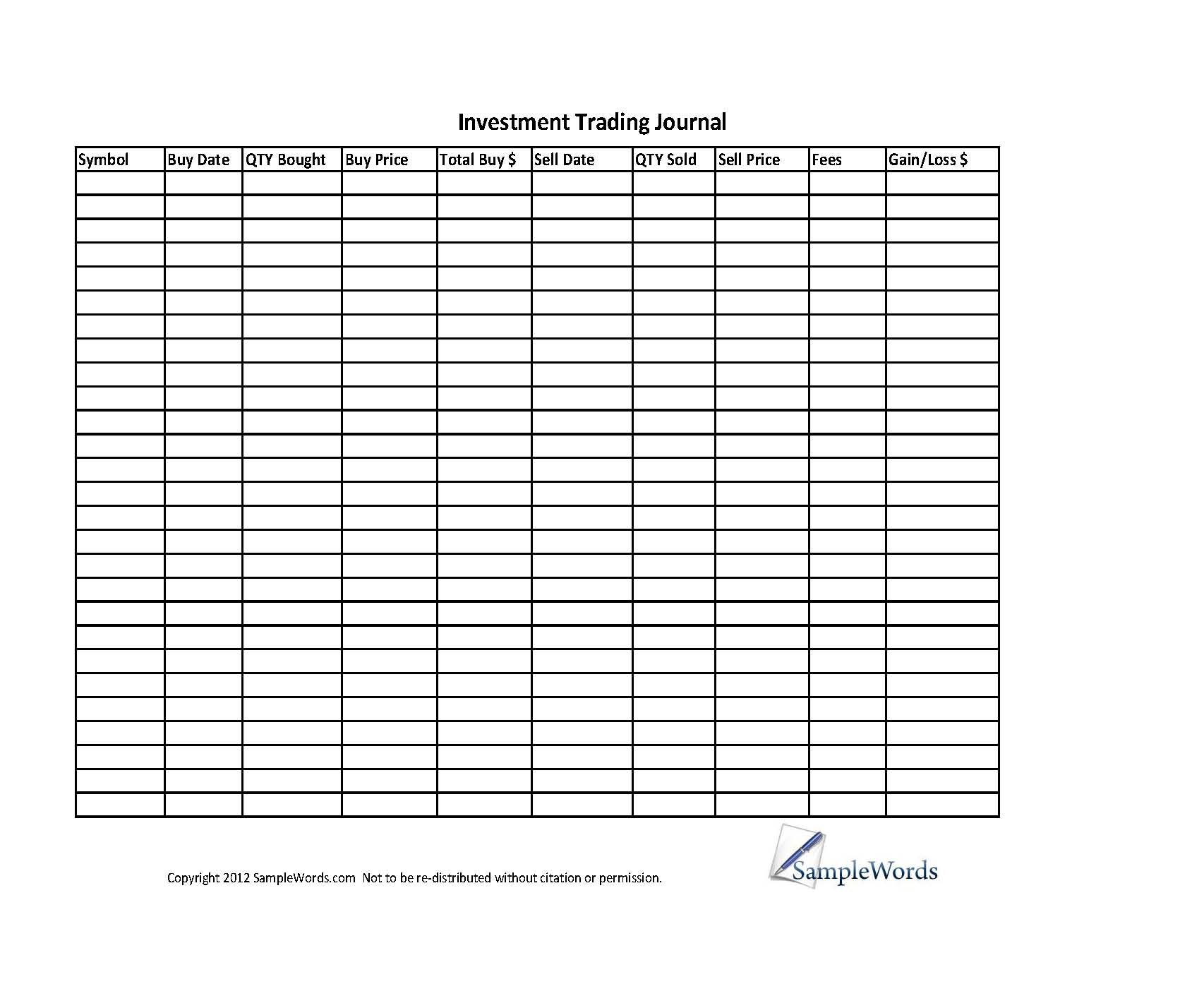 Greg Thurman S Trading Journal Spreadsheet