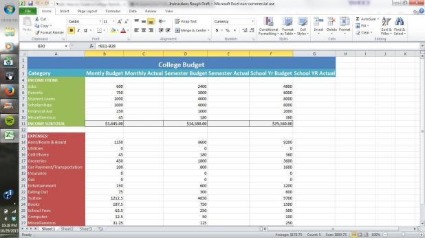 how to make a personal budget in excel