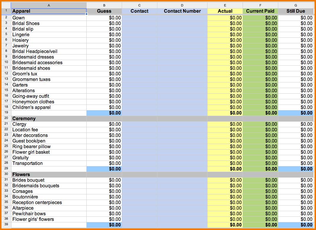 Wedding Budget Spreadsheet Template Uk