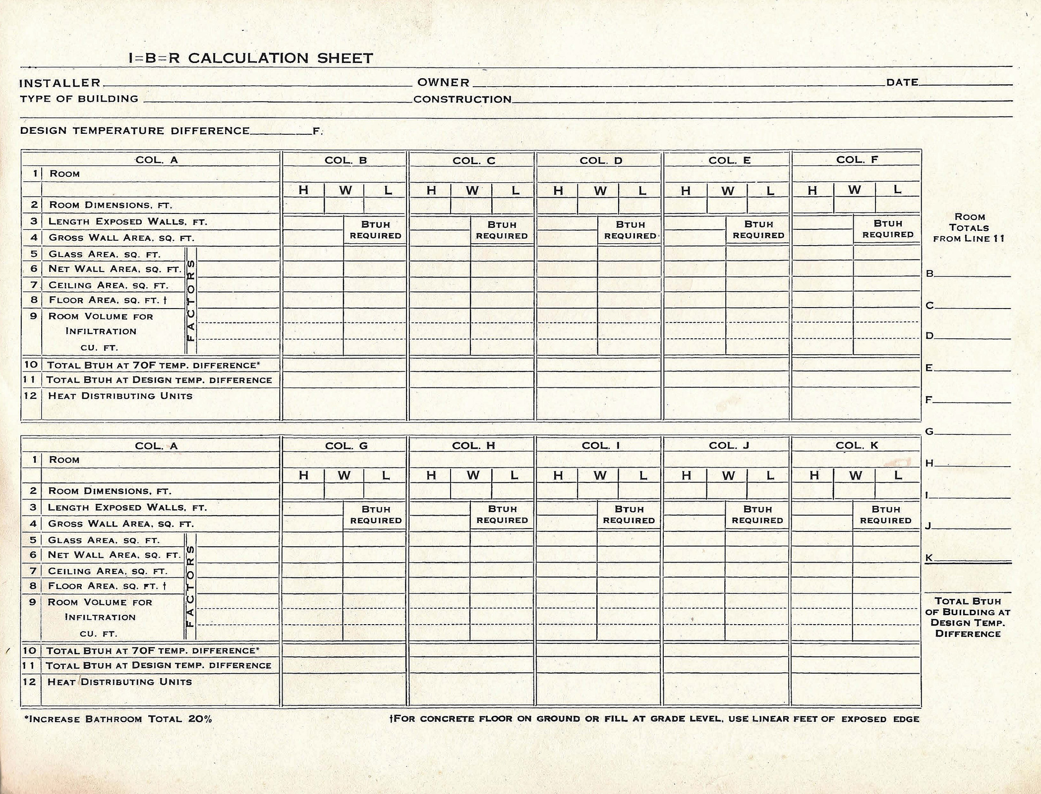 Residential Heat Load Calculation Worksheet