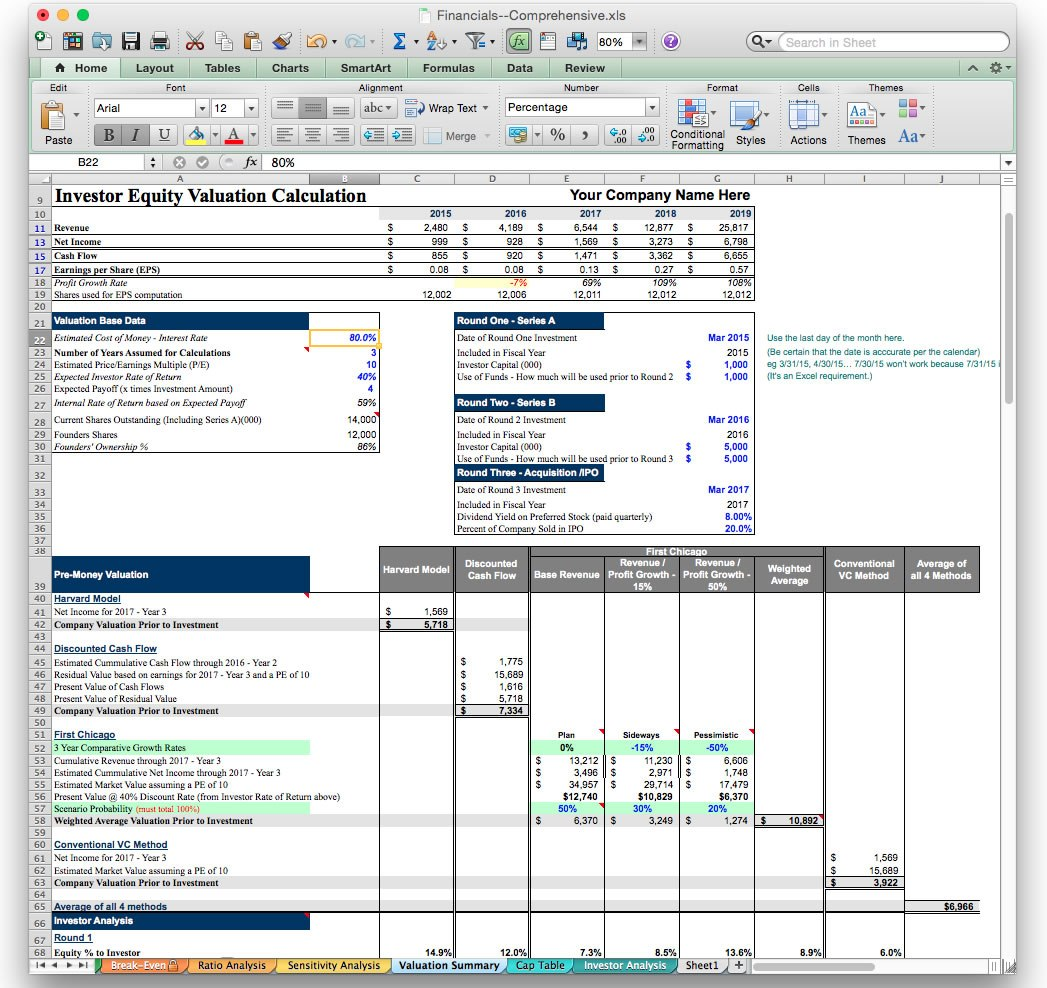 Startup Valuation Template Free